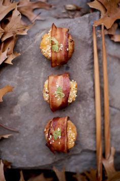 Bacon Wrapped Shrimp Toast.