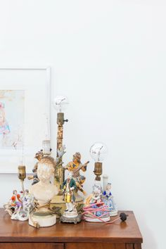 "Sneak Peek: An Eclectic Philadelphia Loft. ""The collection of figurative lamps started with the first find at the Brimfield flea market in 2004. We add to them when we find the right ones."" #sneakpeek"