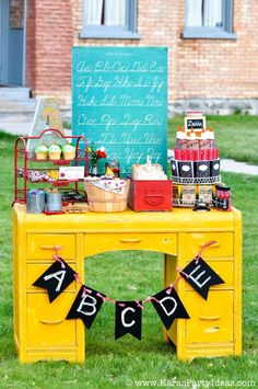 Back to School Party via Kara's Party Ideas KarasPartyIdeas.com #backtoschool #party #school #party #ideas #supplies #vintage #oldschoolhouse #smart #printables #karaspartyideas #karaallen