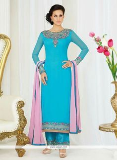 Aesthetic Georgette Embroidered Work Pant Style Suit Model: YOS7757