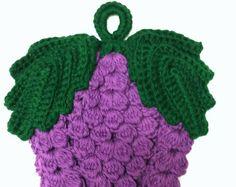 Uncinetto uva frutta presina frutta Pot titolare viola paese cucina Decor cotone pad caldo sottopentola cucina artigianale arredamento housewarming dono