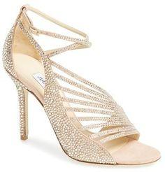 Jimmy Choo 'Florry Hotfix' Strappy Crystal Embellished Sandal #weddingshoes #wedding