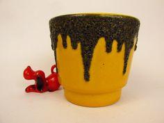 Vintage Keramik Übertopf / gelb / Fat Lava / Fohr | West German Pottery | 60er von ShabbRockRepublic auf Etsy