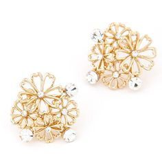 Brown Gold Color Diamond Decorated Flower Design Alloy #Stud #Earrings www.asujewelry.com