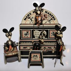 Marx Merry Makers Mouse Band Wind Up Tin Toy Working Condition Violin #Marx