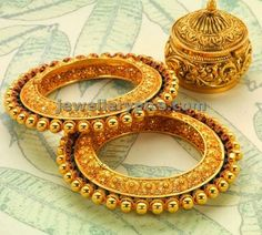 Here are the 9 best 30 gram gold bangles In India. Gold bangles designs in 30 grams are great choice of bangles and always best for women's. Gold Bangles Design, Gold Jewellery Design, Designer Bangles, Gold Jewelry, Jewellery Bracelets, Designer Wear, Gold Earrings, Maharashtrian Jewellery, Halo