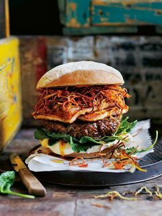 Harissa Lamb, Crispy Carrot and Haloumi Burger. This is more than just your average cheeseburger, loaded with tender harissa lamb and topped with golden haloumi and crispy ribbons of carrot. Lamb Recipes, Burger Recipes, Meat Recipes, Cooking Recipes, Burger Ideas, Lamb Burgers, Gourmet Burgers, Burger Food, Gastronomia
