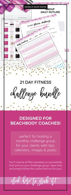 Coach Group Bundle : 21 Day Fitness Challenge // Are you a coach? Need a quick kit to host a 21 day fitness challenge? This will include a daily posting outline along with images, point sheet, tracking sheet and more to keep your challengers engaged and motivated to reach their goals!! // beachbody coach // fitness challenge // 21 day group // coach resource // 21 day challenge group // beachbody challenge group // coaching resource // coach bundle kit // workout challenge // accountability…