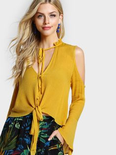 SheIn offers Frill Collar Cold Shoulder Bell Sleeve Blouse & more to fit your fashionable needs. Bell Sleeve Blouse, Bell Sleeves, Collar Blouse, Blouse Styles, Blouse Designs, Trendy Tops, Fashion Outfits, Womens Fashion, Yellow Blouse