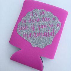 Mermaid Glitter Monogram Koozie by ShopPrettyinRose on Etsy
