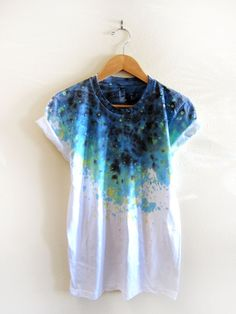 Splash dyed hand painted crew neck pinned rolled cuffs tee by two string jane.