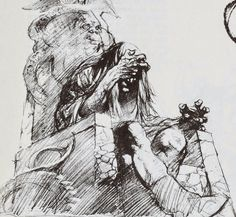 "Drawing for ""Fire And Ice"" by Frank Frazetta"