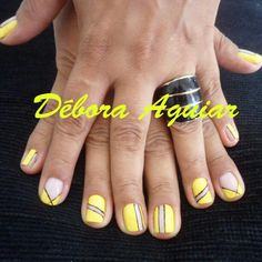 Yellow negative space / cut out nail art design