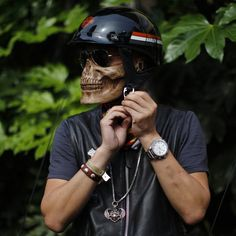 Skull half mask, wear it with any helmet and scare the hell out of people.