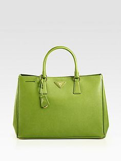 Prada Green Saffiano Lux Tote Bag Handbags Fashion Purses