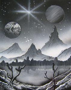 Original Spray Paint Art  Misty Mountains  by BethsSprayPaintArt, $50.00