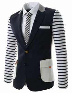 (NIFJ1060-NAVY) Thelees Mens Slim Fit Notched Lapel Sing Breasted Stripe Point Checker Patched 2 Button Blazer