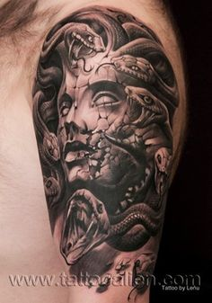 awesome tattoos by Andrzej Lenczuk (Lenu) Medusa Tattoo Design, Tattoo Design Drawings, Tattoo Designs, Head Tattoos, Sleeve Tattoos, Cool Tattoos, Awesome Tattoos, Lil B Tattoo, David Tattoo