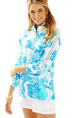 0c7ef394c12b Lilly Pulitzer Skipper Printed Popover - Lace Sleeve Vacation Outfits