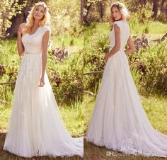 Newest Elegant Lace Appliques Tulle Modest Wedding Dresses With Cap Sleeves V Neck Buttons Back Beaded Belt Country Bohemian Wedding Gowns Beach Wedding Gowns Beautiful Bridal Dresses From Promotionspace, $152.8| Dhgate.Com