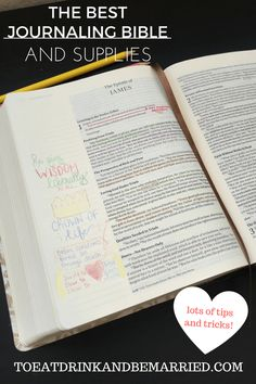 The Best Journaling Bible with lots of tips and supplies to use.  Colored pencils, washi tape, bleed free pens, and much more make an appearance in this post as well as tips on to how to get the most out of your Bible!