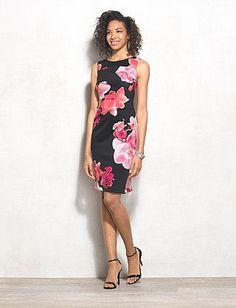 Floral Ruched Sheath Dress - Most comfortable dress I think I've ever worn!