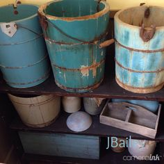 Collection of blue ice cream buckets