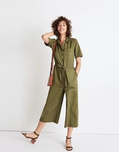 7cbf9bc2398 Madewell Wide-Leg Utility Jumpsuit Size 12 G7789 Desert Olive Green Romper   fashion  clothing  shoes  accessories  womensclothing  jumpsuitsrompers  ad  ...