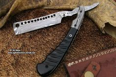 Custom Hand Made Forged Damascus Steel Blade Straight Razor via AG Knives Store. Click on the image to see more!