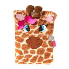Fuzzy Plush Giraffe Lock Diary