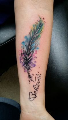 My newest tattoo. <3elieve Feather tattoo, Watercolor Tattoo,