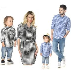 7b4a94f4937b Hot Blue Plaid Couple T Shirt Father Mother Son Daughter Matching Shirts  Family Outfit Tops Mommy
