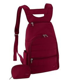 Lug Cranberry Red Parachute Mini Backpack | zulily .  $34.99 $60.00 Product Description:  This backpack's bevy of pockets keeps essentials easily organized, while padded and adjustable straps promise carrying comfort.      Includes backpack and coin purse     11'' W x 14'' H x 3'' D     Man-made     Zip closure     Interior: three zip pockets     Exterior: two zip and one slip pocket     Imported