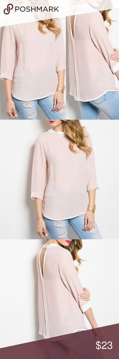07a4795a3406e Blush Ivory Lightweight Top  Shop The Trends  3 4 Sleeve Ivory Blush Blouse