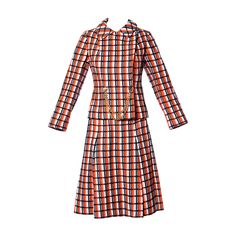 Bill Blass for Maurice Rentner 1960s Wool Plaid Jacket + Skirt Suit Ensemble | From a collection of rare vintage suits, outfits and ensembles at https://www.1stdibs.com/fashion/clothing/suits-outfits-ensembles/