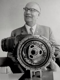 Dr. Felix Wankel with the first prototype of his rotary engine in 1957, which had a rotating inner chamber, unlike all later Wankels. Go to vintagentblogspot to read more...