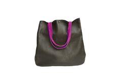 82a5752c Black + Fuchsia Sling Tote | BRIKA Tote Backpack, Leather Backpack, Leather  Bags,