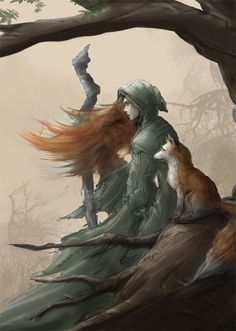 """Fox and Druid by mattforsyth on deviantART   Author's note: """"going for a sketchy folksy style here"""""""