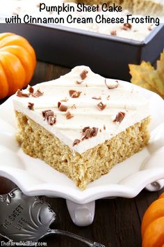 This Pumpkin Sheet Cake with Cinnamon Cream Cheese Frosting is irresistibly delicious. It's super soft and moist sponge has an incredible pumpkin flavor. Topped with a sweet and tangy cinnamon cream cheese frosting just makes this cake shine and attract pumpkin lovers! #pumpkinsheetcake #pumpkincakewithcinnamonfrosting #cinnamoncreamcheesefrosting #thefarmgirlblog | thefarmgirlblog.com Yummy Treats, Delicious Desserts, Dessert Recipes, Yummy Food, Cinnamon Cream Cheese Frosting, Cinnamon Cream Cheeses, Best Thanksgiving Recipes, Christmas Recipes, Holiday Recipes