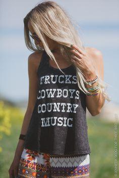 Trucks Cowboys Country Music Tank buy at threebirdnest.com #country #cowgirls #cowgirlchic