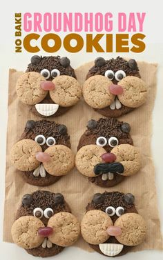 cool Celebrate Puxatawny Phil& prediction with your kids with these easy, no bake Groundhog Day Cookies Read More by Kinder Party Snacks, Snacks Für Party, Mini Cookies, No Bake Cookies, Cute Food, Good Food, Groundhog Day Activities, Holiday Activities, Frijoles