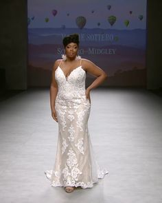 Beautiful Embroidered Slip Plus Size Trumpet Wedding Dress / Bridal Gown with Spaghetti Straps and a Train. Runway Show by Maggie Sottero Amazing Wedding Dress, Dream Wedding Dresses, Bridal Dresses, Plus Size Wedding Gowns, Plus Size Brides, Plus Size Gowns, Maggie Sottero Wedding Dresses, Fit And Flare Wedding Dress, Plus Size Vintage