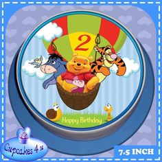 HAPPY BIRTHDAY 7.5 INCH ROUND POOH & FRIENDS 2ND BIRTHDAY CAKE TOPPER - CC0151