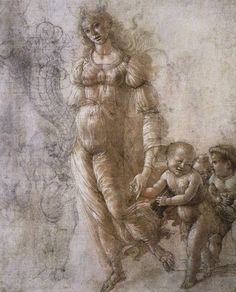 Sandro Botticelli (1445 - 1510) Allegoria dell'abbondanza, tra il 1480 e il 1485. Penna d'oca, inchiostro marrone, wash e gesso su carta rosa