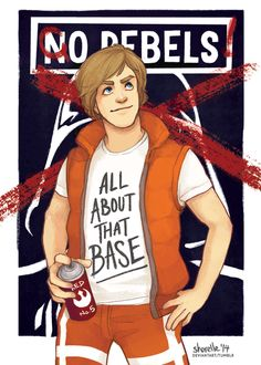 """""""A New Pun"""", featuring Luke Skywalker! the questionable fashion choices of this Star Wars modern AU continues. Why does Luke look like he st. star wars - all about that base Star Wars Quotes, Star Wars Humor, Star Wars Art, Star Trek, Original Trilogy, Star War 3, Star Wars Tshirt, Love Stars, Luke Skywalker"""