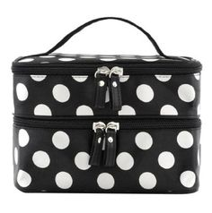 nice BONAMART ® Double Layer Cosmetic Bag Black with White Dot Travel Toiletry Cosmetic Makeup Bag Organizer With Mirror - For Sale Check more at http://shipperscentral.com/wp/product/bonamart-double-layer-cosmetic-bag-black-with-white-dot-travel-toiletry-cosmetic-makeup-bag-organizer-with-mirror-for-sale/