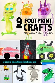 9 Footprint Crafts Boys Will Think Are Cool - Spaceships and Laser Beams