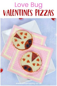 Fun Valentine's food idea for kids - these cute love bug pizzas are quick & easy to make. Serve with crunchy vegetable sticks for a healthy Valentines meal! Valentine Pizza, Valentines Day Food, Kids Pizza, Food Art For Kids, Love Bugs, Healthy Kids, Healthy Snacks, Pizza Recipes, Dessert Recipes
