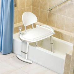 Moen Home Care W x D Adjustable Height Non Slip Bath Safety Transfer Bench, Glacier White Shower Seat, Bathtub Shower, Shower Benches, Bath Tub, Bathroom Chair, Tub Chair, Chair Bench, Ada Bathroom, Bathrooms