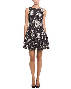 RED Valentino Black & Beige Dropped Waist Floral Dress